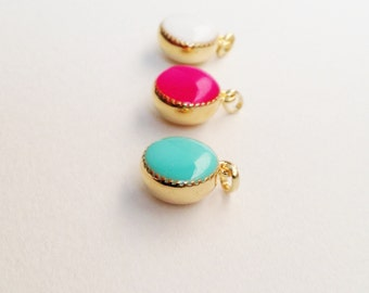 Dainty Necklace, Small Necklace, Simple Necklace, Fuchsia Pink Necklace, White Necklace, Turquoise Green Necklace, Teeny Necklace, Resin