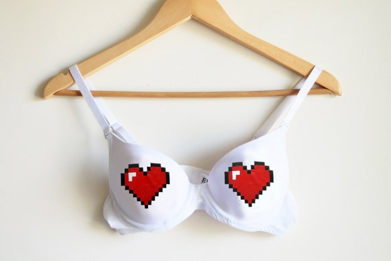 Gamer geek  bra pixel  fun bra  gamer gift computer game  sexy underwear geek underwear love bra