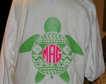Aztec Turtle Monogrammed tshirt Youth Long or Short Sleeve