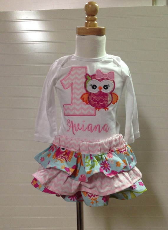 1st birthday girls owl woodland shirt, birthday girl embroidered shirt, custom bithday set, first birthday baby girl owl, woodland theme