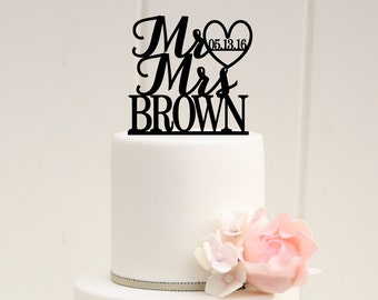 Mr and Mrs Wedding Cake Topper with Heart and Wedding Date - Custom Cake Topper