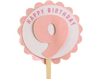 Shimmer Pink 9th birthday Cupcake Toppers, S12, Birthday, Pink Shimmer, Cupcake Decor, Handcrafted Party Decor, Party Supplies