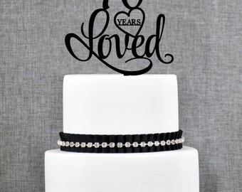 70 Years Loved Birthday Cake Topper, Elegant 70th Cake Topper, 70th Anniversary Cake Topper- (T244-70)