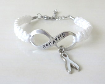 White Awareness Ribbon Hand Stamped BREATHE Bracelet Lung Cancer Multiple Hereditary Exostoses Severe Combined Immune Deficiency Awareness
