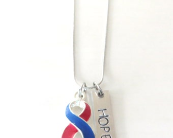 Red and Blue Customizable Awareness Ribbon Stainless Steel Charm Necklace with Optional Add On Charms
