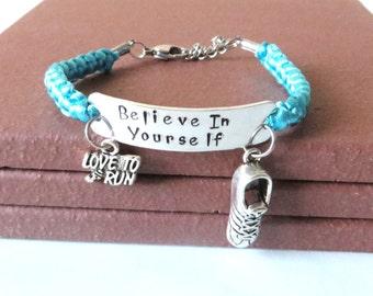 Believe in Yourself Running Sneaker 5k 10k Marathon Half Marathon Love to Run Charm Bracelet You Choose Your Cord Color(s)