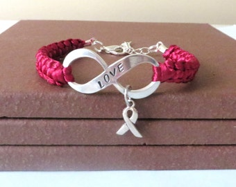 Burgundy Awareness Ribbon LOVE Multiple Myeloma Oral Cancer Brain Aneurysm Migraine Amyloidosis Disabled Adults Charm Bracelet