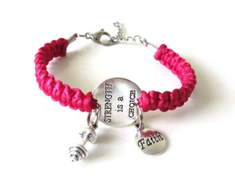 Strength is a Choice Faith Workout Weight Lifting Bodybuilding Barbell Charm Bracelet You Choose Your Cord Color(s)
