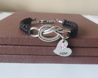 Mothers Crystal Birthstone Hand Stamped Love Knot Bracelet You Choose Your Birthstone Charm and Cord Color(s)