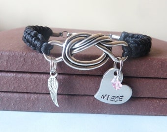 Niece Memorial Angel Wing Crystal Birthstone Hand Stamped Love Knot Bracelet You Choose Your Birthstone Charm and Cord Color(s)
