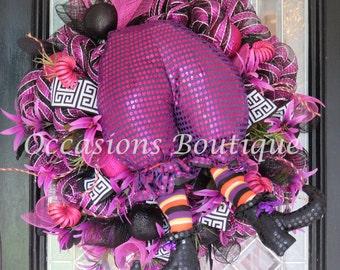 Halloween Wreath, Witch Wreath, Halloween Decoration, Wreath for Door, Front door wreath, Fall Wreath