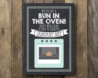 Bun in the Oven Pregnancy Announcement - Pregnancy Reveal - Bun in the Oven Announcement - Printable Pregnancy Announcement