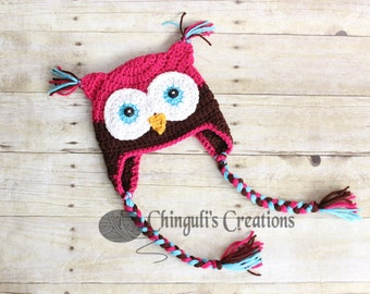 Crochet Owl Hat, Baby Hot Pink Brown Owl Beanie Girls Owl Hot Pink Brown Turquoise Owl Hat