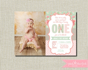 First Birthday Invitation Shabby Chic Vintage, Burlap First Birthday Invitation, Shabby Chic Invitation, Burlap Invitation, Shabby Chic