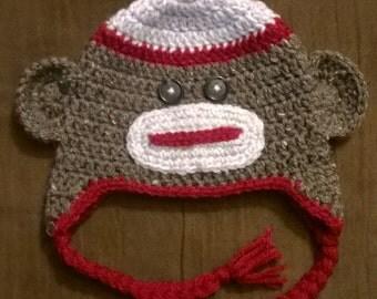 Crochet Sock Monkey Hat, Toddler, Toddler Hat, Monkey Hat