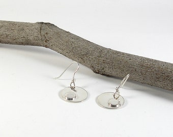 Round sterling silver dangle earrings. Handmade womens earrings. Contemporary jewelry