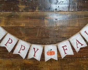 Hand Painted Happy Fall Burlap Banner, Rustic Fall Decor, Fall Banner, Thanksgiving Banner, Autumn Banner, Fall Sign