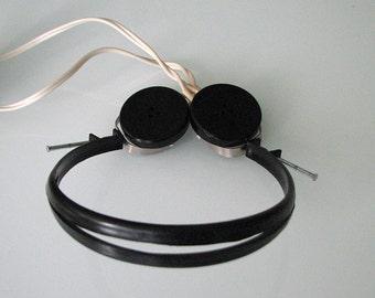 Ukrainian Soviet vintage radio bakelite headphones with volume control