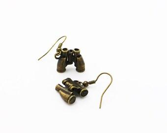 Binoculars Dangling Earrings, Binoculars Necklace, Antique Bronze Charm, Jewelries Set, Bronze, 3D Pendant, Miniature, Hipster, Unisex, Men