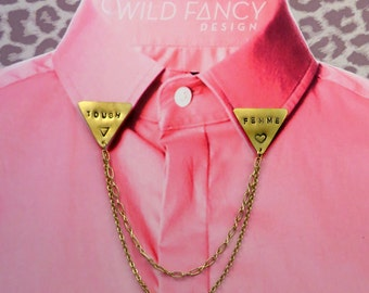 TOUGH FEMME collar chains, with hand-stamped brass triangles