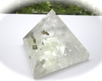 Large Phantom Quartz Carved Crystal Pyramid