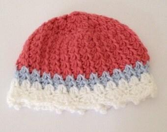 baby shower gift, baby girl beanie, baby girl hat, infant beanie hat, baby hat, crochet beanie hat, baby beanie hat, crochet baby beanie