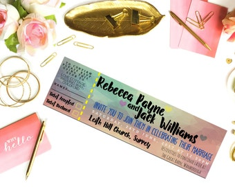 Festival Wedding Ticket Invitation. Perforated Ticket Invite with RSVP Stub. Personalise and Customise For Your Special DIY Invitations