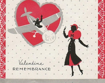 Vtg Valentine Airplane Card Low Wing Remembrance Nice Graphics