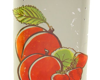 Vtg Canister Painted Chrome Peach Strawberry Motif 8.75x6x5 Inches