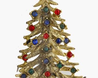 Vtg Christmas Tree Pin Two Layers Goldtone Red Blue Green Rhinestones
