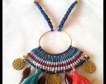 Macrame necklace/Boho/Bohemian/Bohochic/Ethnic necklace/Colorful/Beaded/Adjustable/Μακραμε κολιε