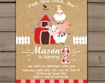 Farm Invitations Birthday invitations Old McDonald Invitations Country Birthday Party Chalkboard Farm Birthday Digital PRINTABLE ANY AGE