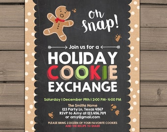 Holiday Cookie Exchange Invitation Cookie party invite Cookie Swap Invite Oh Snap Gingerbread Holiday Christmas Cookie decorating PRINTABLE