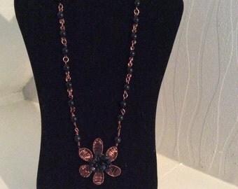 Black onyx wire work necklace