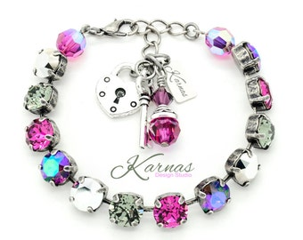 PINK CHROME 8mm Crystal Chaton Bracelet Made With Swarovski Elements *Pick Your Finish *Karnas Design Studio *Free Shipping