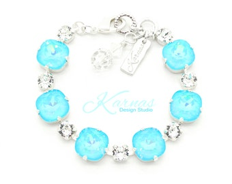 ULTRA TURQUOISE & CRYSTAL 12mm/6mm Crystal Bracelet Made With Swarovski Elements *Pick Your Finish *Karnas Design Studio *Free Shipping*