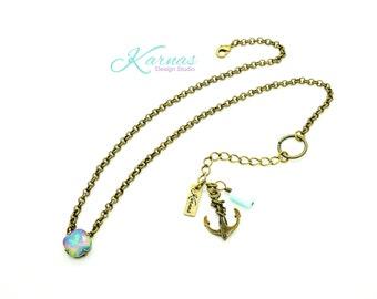 WHITE OPAL ELECTRA 12mm Cushion Cut Necklace Swarovski & Persian Opal *Pick Your Finish *Karnas Design Studio *Free Shipping