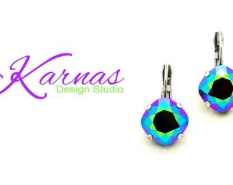 CRYSTAL SCARABAEUS GREEN 12mm Crystal Cushion Cut Drop Earrings Swarovski Elements *Pick Your Finish *Karnas Design Studio *Free Shipping
