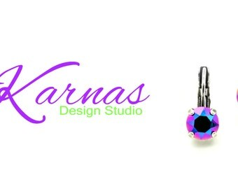 CRYSTAL SCARABAEUS GREEN 8mm Crystal Chaton Drop Earring Made w/ Swarovski Elements *Pick Your Finish *Karnas Design Studio *Free Shipping