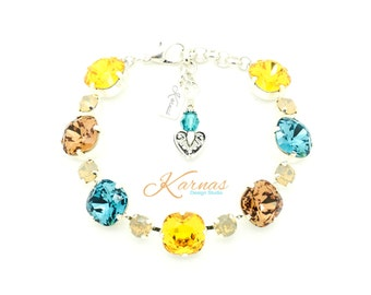 FALL By THE BEACH 12mm/6mm Cushion Cut Bracelet Made With Swarovski Elements *Pick Your Finish *Karnas Design Studio *Free Shipping*
