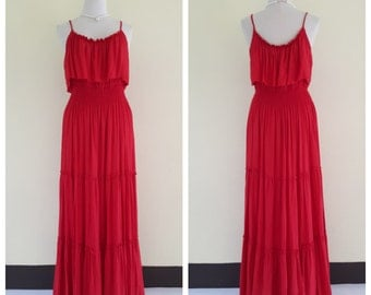 Red Summer dresses/Maternity dress/ maxi summer dress/long dress/boho maxi dress/ Plus Size XS - 5XXL