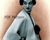 Womens Cape Shawl Sweater Jacket Knit Pattern Vintage Digital Download