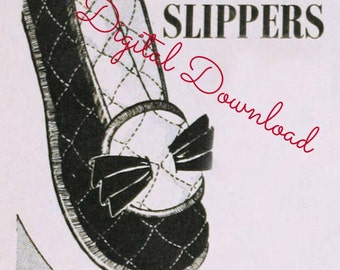 Vintage Quilted Slipper Sewing Pattern Ballet 1940s Style 4 Sizes Printable Digital Download