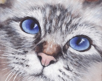 Grey Kitten with blue eyes, A High Quality PRINT of my Original painting