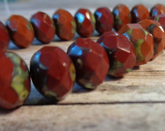 10 Czech Glass Rondelle Beads Chestnut Mix Rondelles Mix of Burnt Sienna Reds & Brown Picasso Finish Marsala Palette Opaque Czech Glass Bead