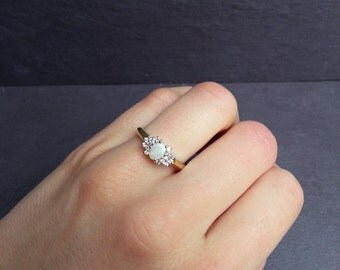 Cluster Opal Engagement Ring in White or Yellow Gold