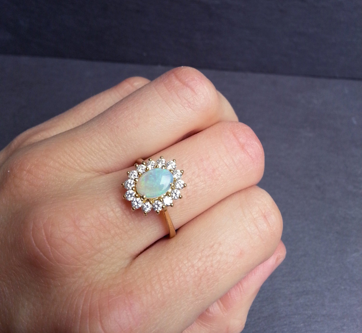 Gold Opal Engagement Ring Diamond And Opal Ring By ArahJames