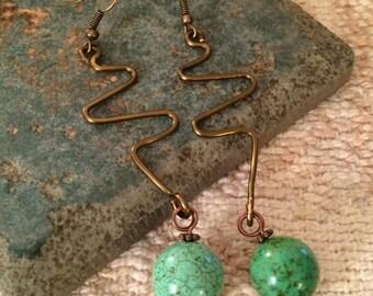 Geometric Copper Wire Turquoise Earrings
