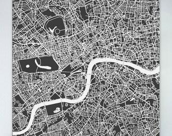 Map of London, large canvas, city maps, street map, vintage map, antique map, city maps, map art, city map art, wall art, map decor