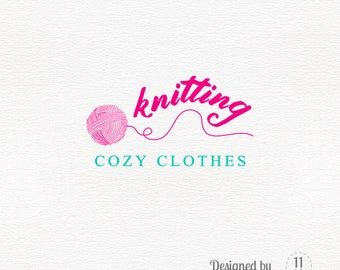 Knit logo, fun yarn ball, clothing premade logo design, business branding wool